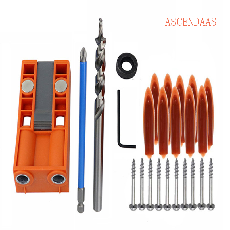 2-In-1 Woodworking Drilling Hole ABS Plastic Clined Locator Oblique Hole Jig Kit Twist Drill Step Drill Set Hole CS-002