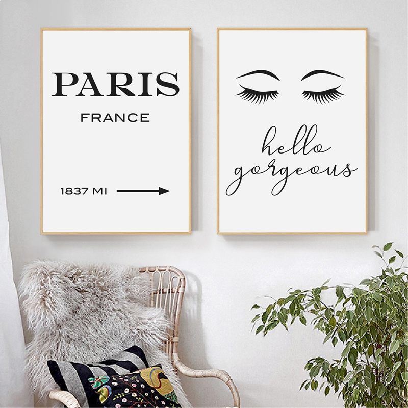 Eyelash prints living room decor