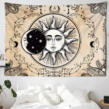 India Mandala Tapestry Wall-Carpet Tarot Psychedelic Witchcraft Sun-Moon Tapiz Black