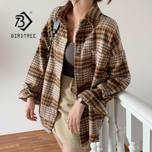 Winter Women Vintage Oversize Woolen Plaid Shirt Pockets Batwing Sleeve Turn-Down Collar Thick Blouse Autumn Casual Warm Outwear cheap BIRDTREE TB CN(Origin) Cotton Polyester long T08902F Ages 16-28 Years Old Single Breasted Blouses Full Blue Yellow Cotton + Polyester