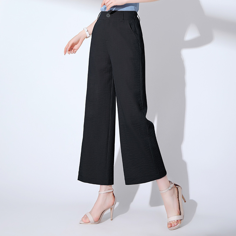 Cotton Linen Loose   Pants   Women's 2019 Summer New Style High-waisted Casual   Pants   Drape Straight-leg   Pants   Flax   Capri     Pants   Child