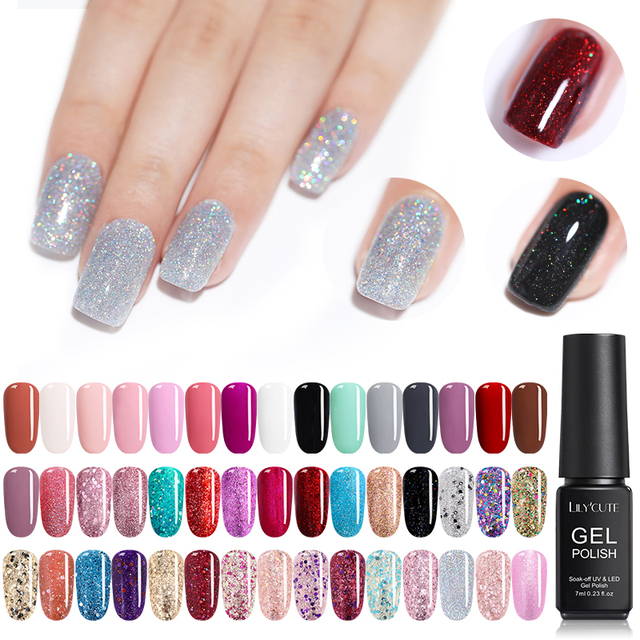 LILYCUTE 7ml Holographic Glitter Sequins Gel