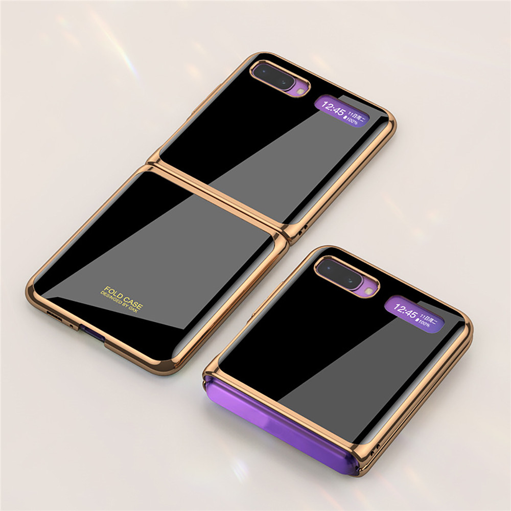 Ultra-thin Tempered Glass Phone Case for Samsung Galaxy Z Flip Fold Phone Accessories Fashion Electroplated PC Phone Back Cover