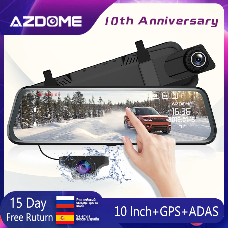 "AZDOME PG02 10"" Mirror Dash Cam With GPS Streaming Media Full-Screen Touching ADAS Dual Lens Night Vision 1080P + 720P Car DVRs"