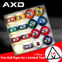 AXD – lot de 16 balles de billard en résine de 57.2mm, avec motif de marbre, en papier gratuit, accessoires
