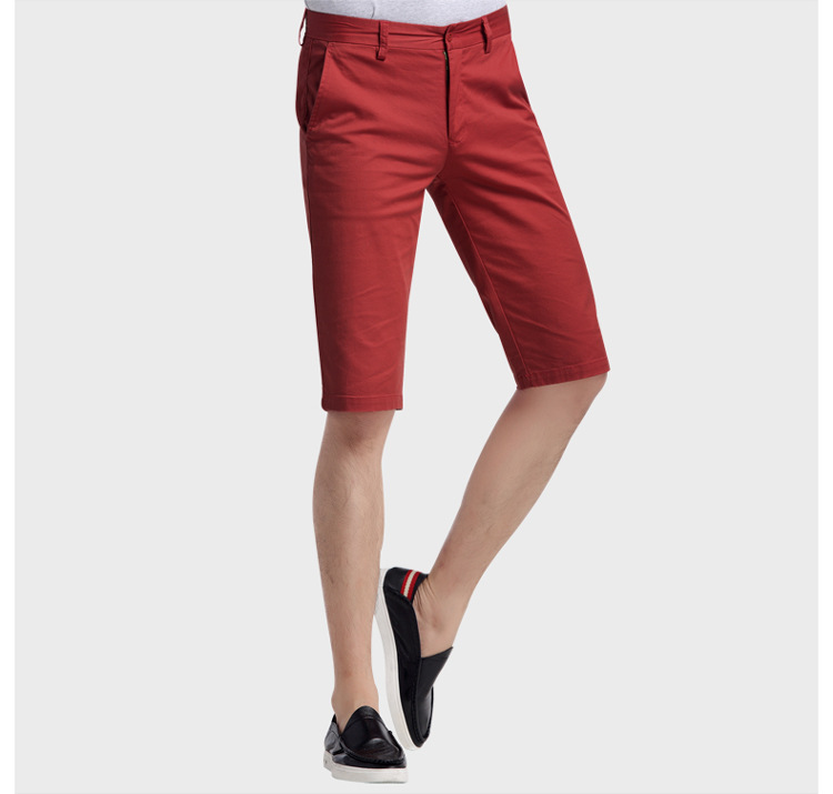 Beans Cut The Tag Off Cotton-padded Trousers MEN'S Middle Pants 100% Cotton Shorts Shorts Dark Red Business Casual Brand Stock