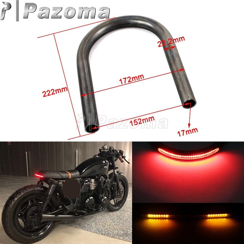 220mm Motorcycle Black Rear Seat Loop Frame Hoop Tracker End Flat Cafe Racer