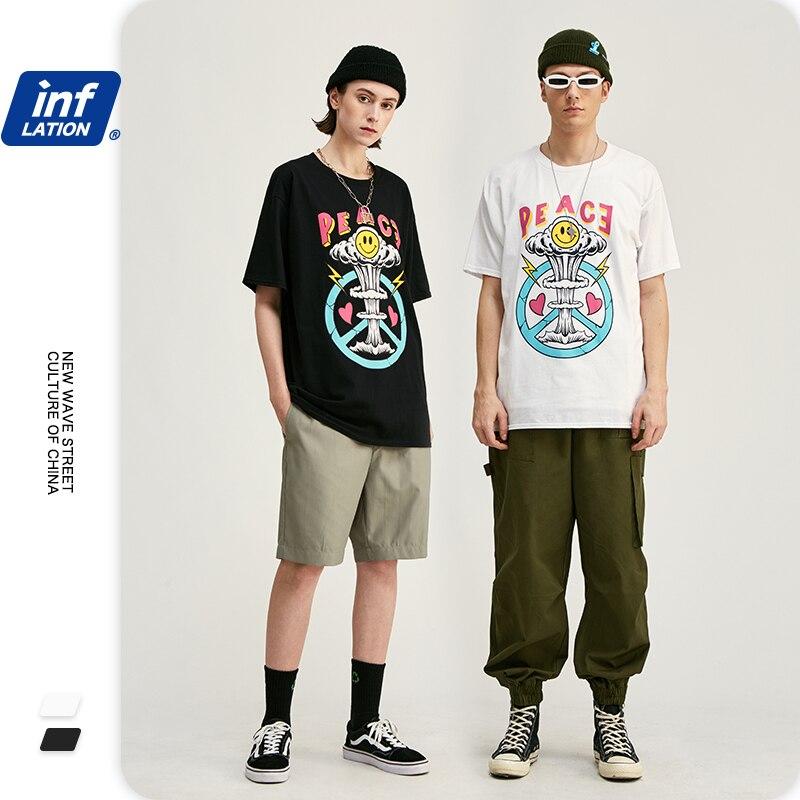 INFLATION 2020 SS Print Men T Shirt Couple Tee Shirt Homme O-neck Cotton Men Tee Shirts Casual Streetwear Men T Shirts 1201S20