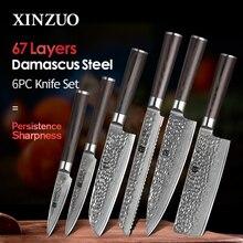 XINZUOญี่ปุ่นดามัสกัสเหล็ก 6PCSมีดครัวชุดUltra Sharp Bladeมีดเชฟ 62 HRCมีดทำอาหารเครื่องมือPakkawoodจับ
