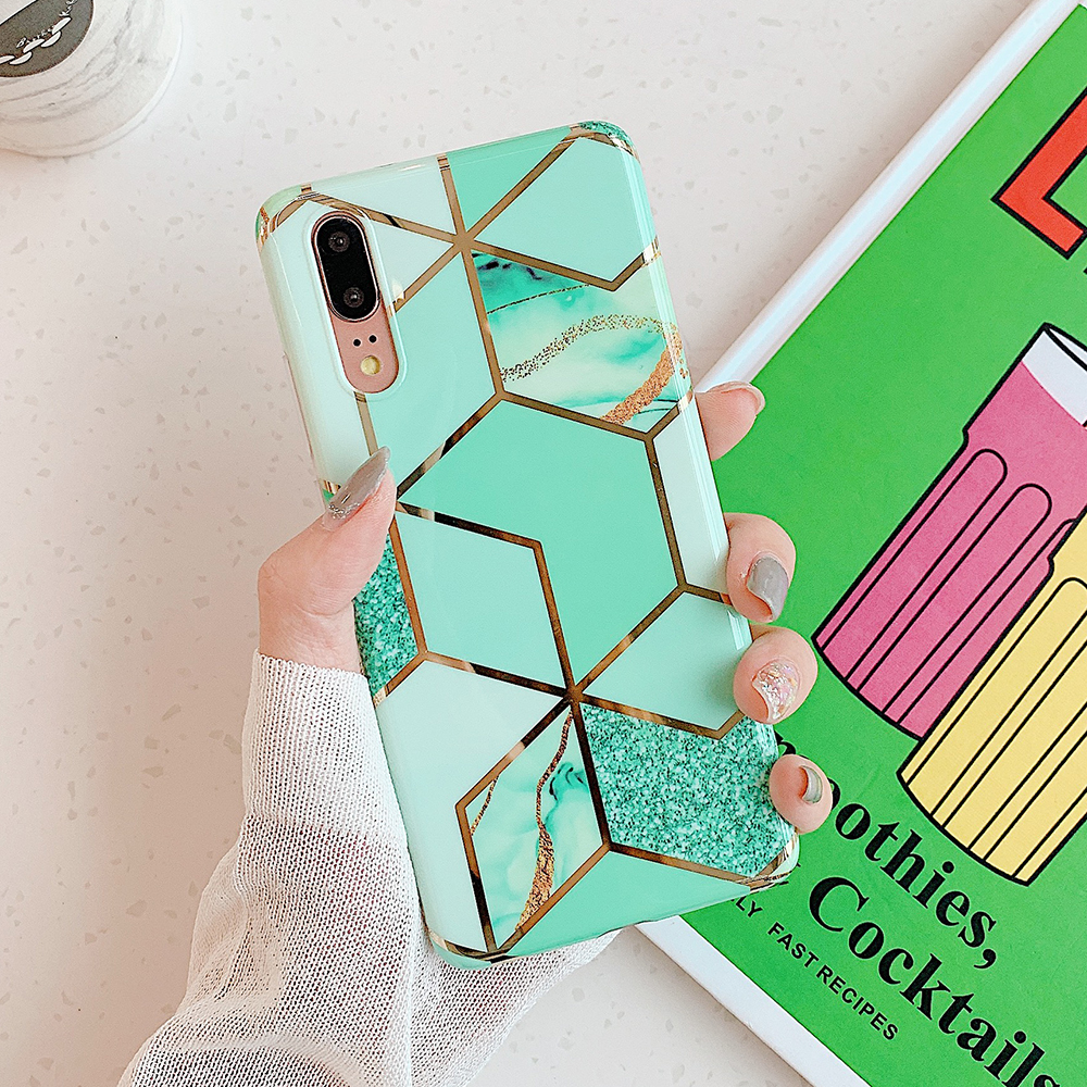 Electroplate Geometric Marble Phone Case For Huawei  1