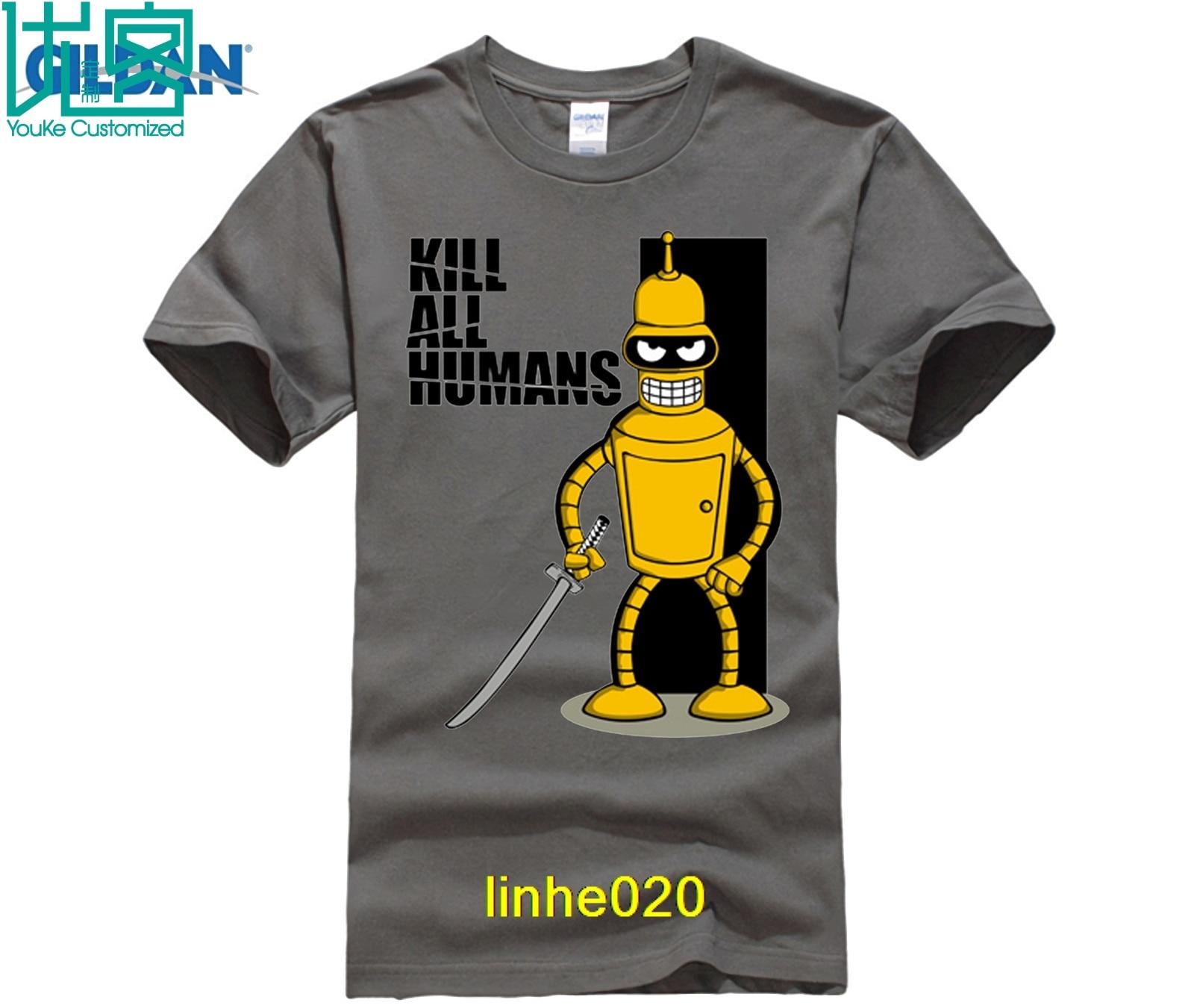 Flevans  Robot Bender Kill All Humans Print Men T-shirt Mens Short Sleeve Cotton Tops Tee Fashion Hip HopT-shirts
