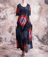 Spring Autumn New National Style Women's Casual Dress Art Retro Pleated Printed Loose Cotton and Linen Dresses