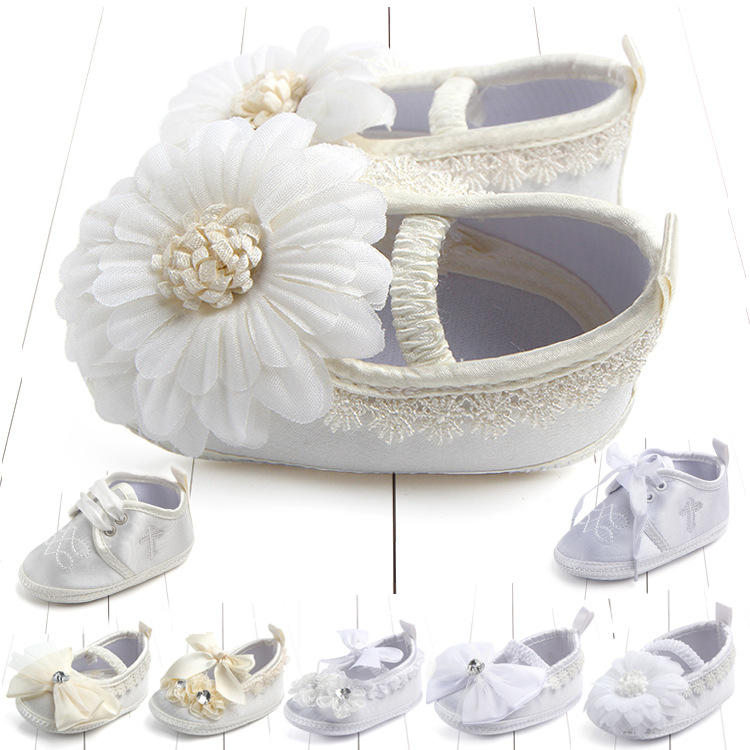 Newborn Baptism Shoes White Flower Baby Girl Lace Shoes Toddler Prewalker Anti-Slip Shoe Simple & Christening Baby Shoes