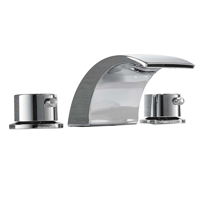 8-16 Inch Led Waterfall Widespread Bathroom Sink Faucet 2 Handles 3 Holes Chrome Finish Commercial