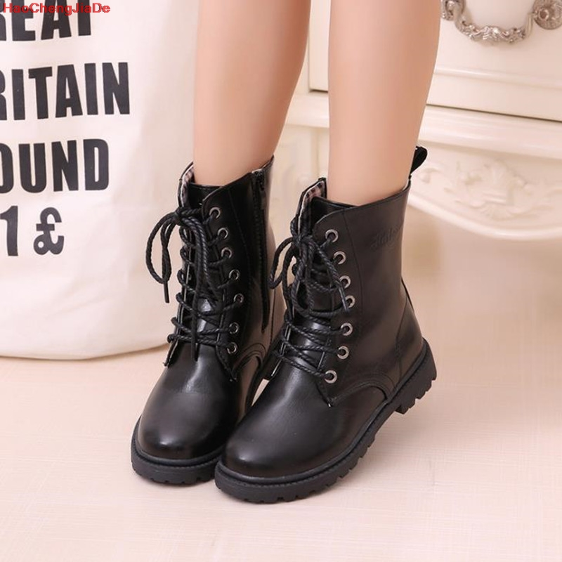 Boys Girls Boots Fashion Children's Winter Boots Shoes Waterproof Martin Boot Ankle For Kids Female Snow Fur Black Cotton