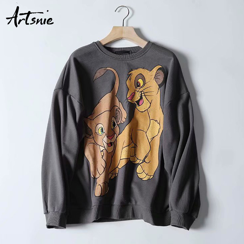 Artsnie Gray Casual Cartoon Women Sweatshirt Autumn 2019 O Neck Long Sleeve Oversized Hoodies Knitted Streetwear Sweatshirts