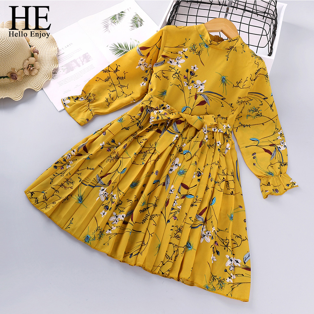 HE Hello Enjoy Toddler Girls Dresses Baby Girl Clothes 2021 Spring Summer Bow Print Princess Party Elegant Kids Dress Vestidos