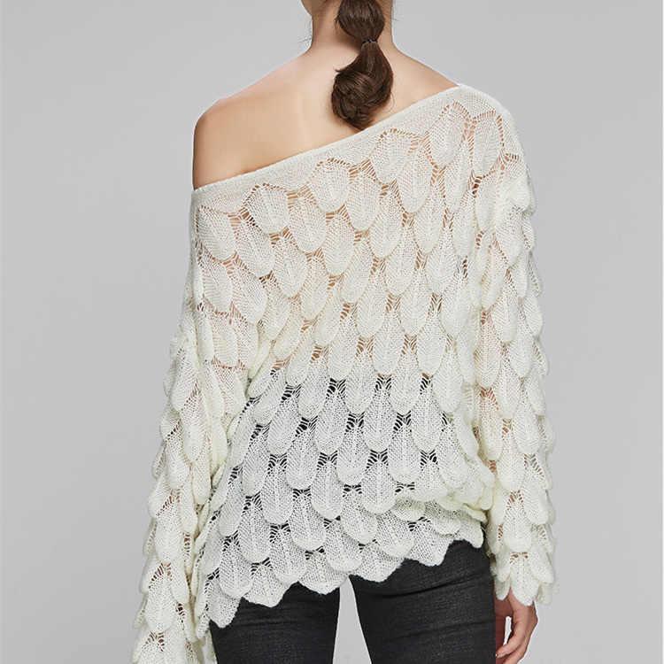 Adohon Elegante Maglione Delle Donne 2019 Casual Donne Allentate di Modo Maglie E Maglioni e Pullover Carino 3D Bianco Jumper Suéter Mujer Slash neck