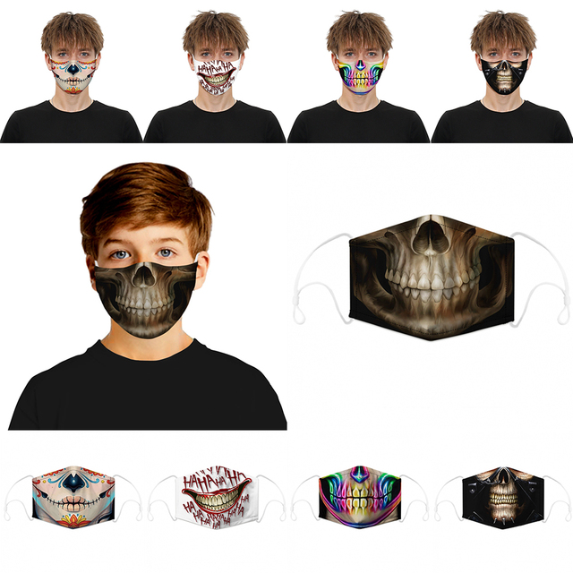 Festival Skull Flu Masks PM2.5 Black Dustproof Skull Half Face Mask Multi Use Fall Winter Accessories Mask Halloween Decoration 5