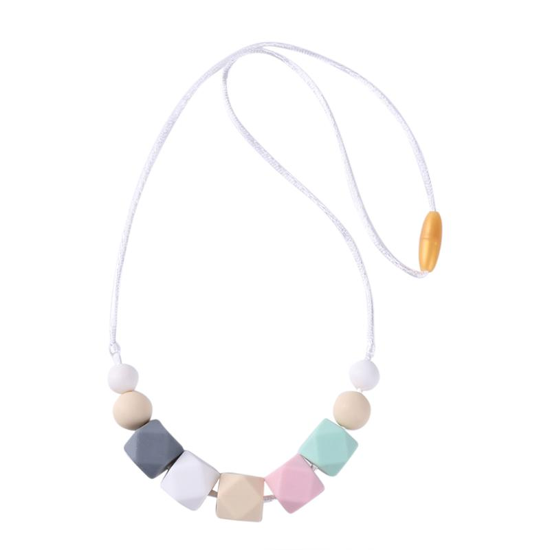 Wooden Teether Necklace Silicone Chewing Beads Teething Training Pendant Toys Baby Nursing Tools Kids Educational Toys