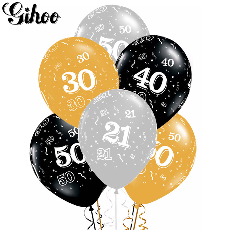 10pcs 12inch Gold Silver Black 21st 30th 40th 50th Latex Balloons Adult's Birthday Party Wedding Decoration Anniversary Supplies