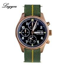 Lugyou hruodland quartzo relógio masculino cronógrafo bronze safira convexo 100m resistência à água náilon elástico piloto relógio de pulso