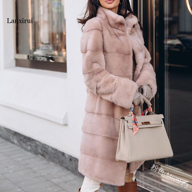 Winter Women High Quality Rabbit Faux Fur Coat Pink Long Fur Jacket Loose Lapel OverCoat Thick Warm Plus Size Female Plush Coats