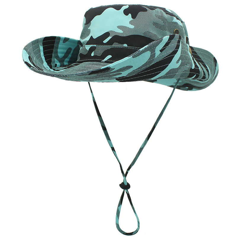 Outfly Outdoor UV Protection Wide Brim Bucket Hat Cowboy Hat Fisherman's Hat Foldable Camouflage Beach Hat