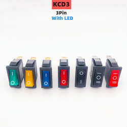 KCD3 Rocker Switch ON-OFF 2 Position 3 Pin Electrical equipment With Light Power Switch 16A 250VAC/ 20A 125VAC Home / industry