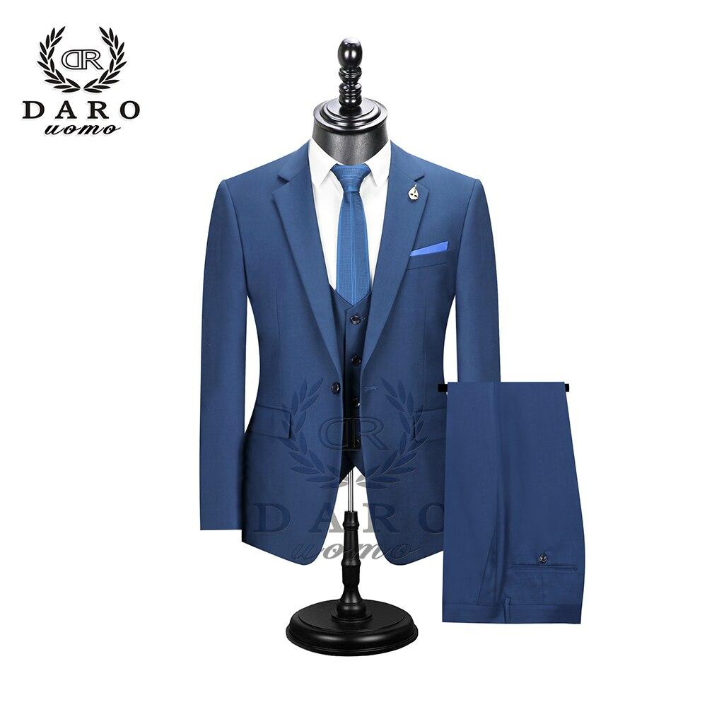 2019 Даро мужские костюмы Slim Fit пиджак брюки жилет для работы в деловом стиле и для свадьбы комплект из 3 предметов DR6158 - 3