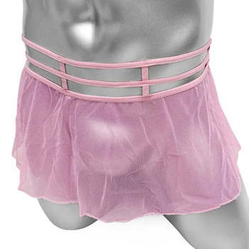 Mens Sissy Lingerie Skirts Panties Mesh See Through Hollow Out Waist Sexy Gay Mini Tutu Badydolls