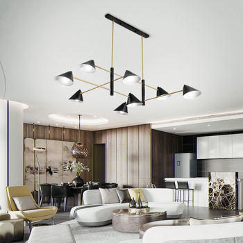 MDWELL Postmodern จี้ไฟโลหะโคมไฟสำหรับห้องนั่งเล่น Room Shop แขวนปรับ E14 จี้หลอดไฟโคมไฟ