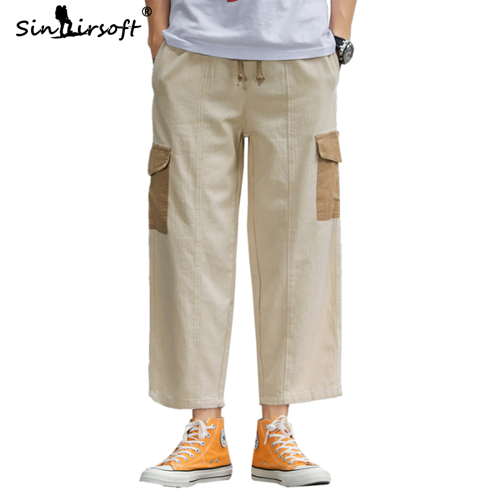 Side Big Pockets Mens Cargo Pants Loose Drawstring Waist Ankle-length Wide Leg Male Autumn Spliced Fashion Trousers
