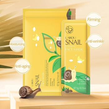 LAIKOU Face Sleeping Mask Green Tea Repairing Cherry Care Moisturizing blossom Snail Skin Anti-aging Seaweed Oil-Control image