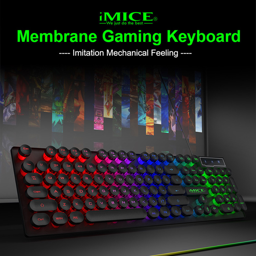 AK-800 USB Wired Mechanical Feeling 104 Keys RGB Backlit Game Keyboard Silicone Keypads For Computer Laptop PC Desktop