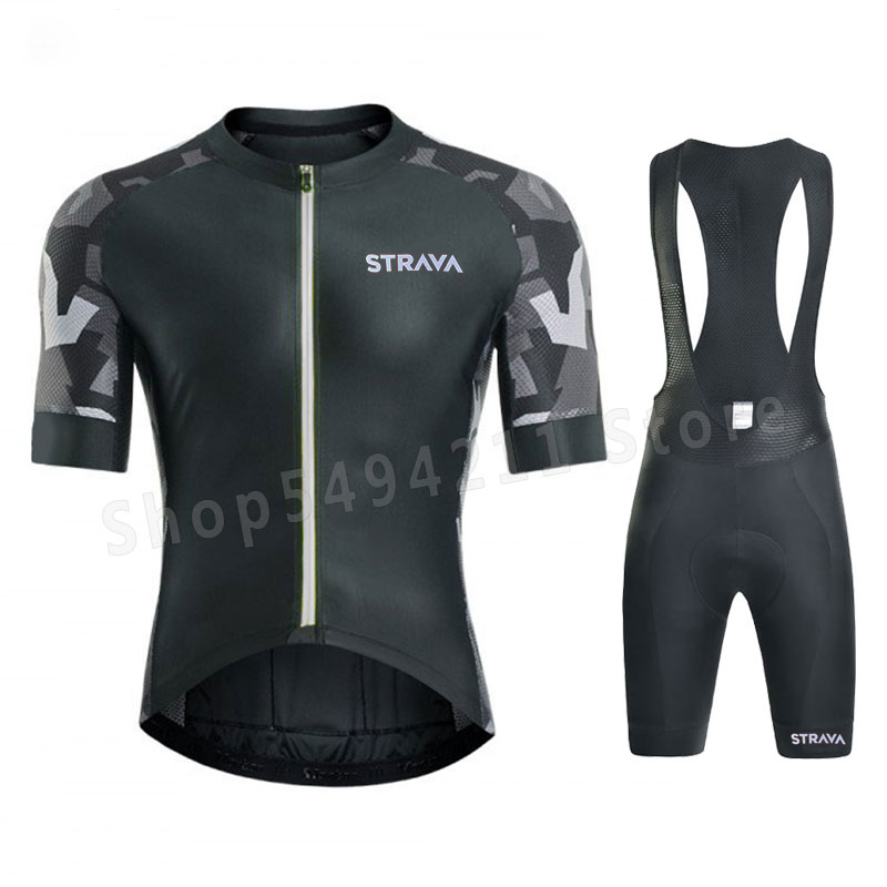 2020 New Black STRAVA Pro Cycling Team Short Sleeve Maillot Ciclismo Men's Bike Riding Suit Summer Breathable Bike Suit Set