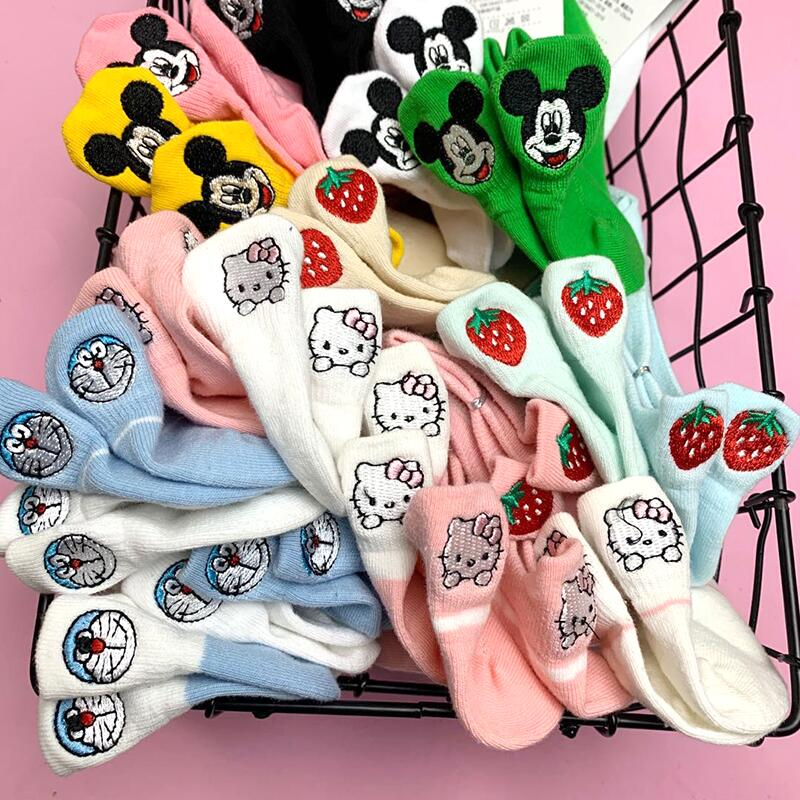 5 Pairs Summer Fashion Woman Socks Slippers Kawaii Cartoon Animal Embroidery Ankle Harajuku Socks Korean Style Girl Funny Socks