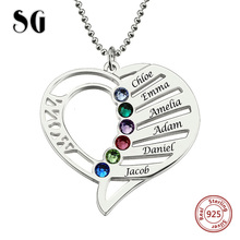 Genuine 100% 925 Sterling Silver Pendant Necklace Engraved Heart Mother Birthstones Necklace for Women Custom Jewelry