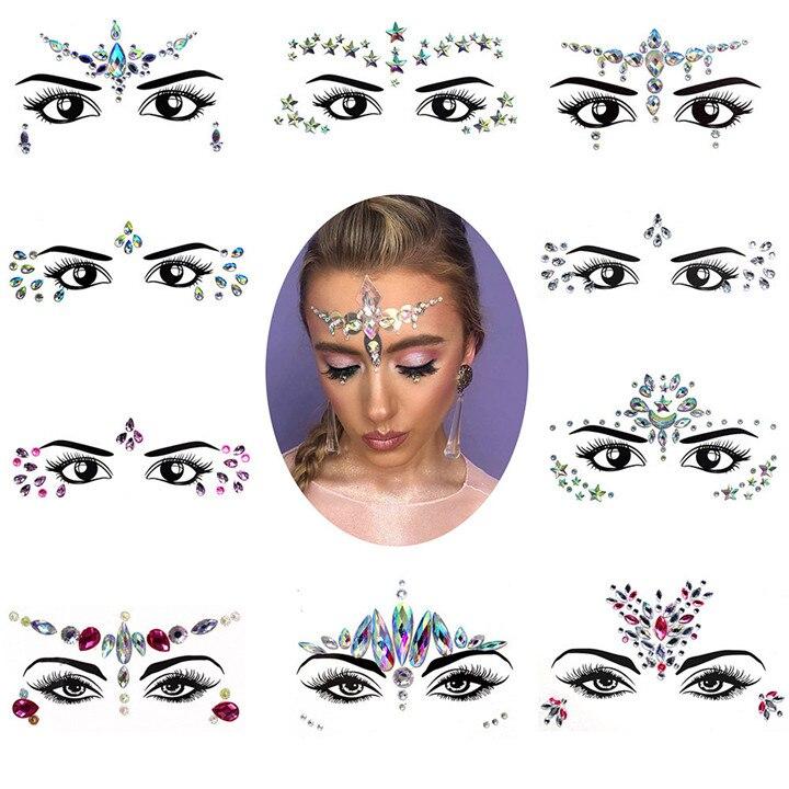 6  Eyebrow Eye Face Adhesive Acrylic Resin Drill Diamond Face Stick Sticker Handicrafts Rhinestone DIY Phone Case Jewelry Sticker