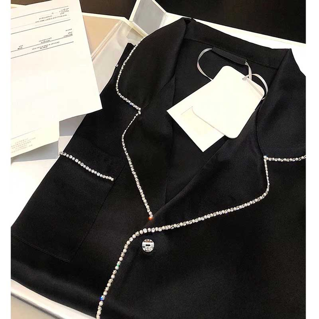Cosmicchic Silk Pajama Sets Long Sleeve Top + Pant Silk Artificial Diamond Sleepwear Women Pijama Home Suit Customizable Name