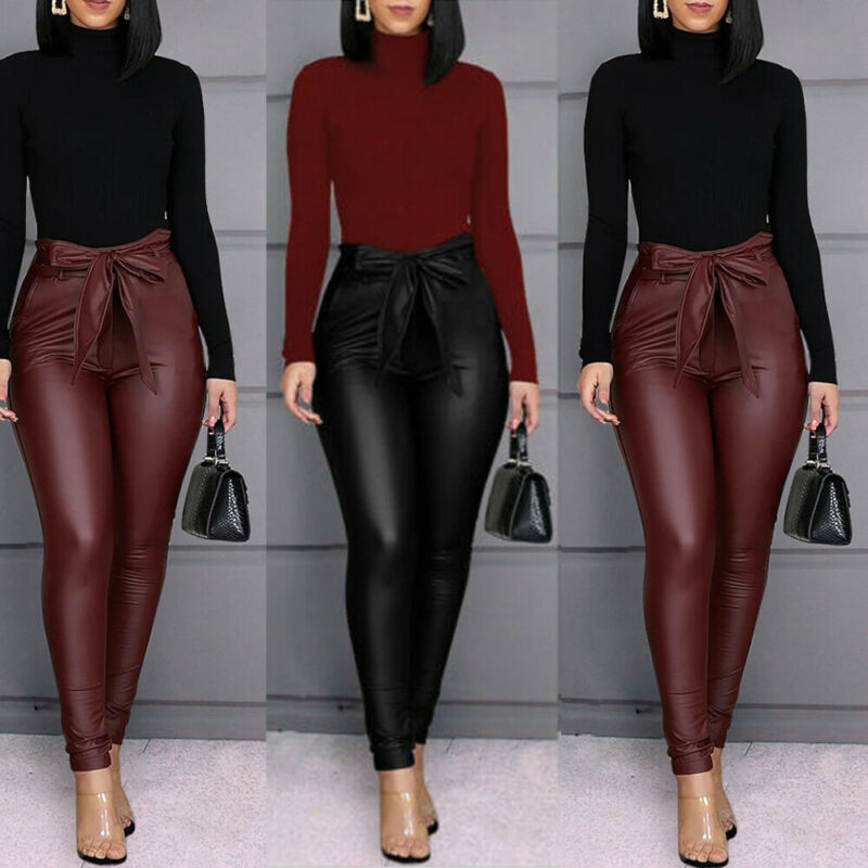 Spring Summer Belt High Waist Pencil Pants Women Faux Leather PU Sashes Long Trousers Casual Sexy Exclusive Design Fashion