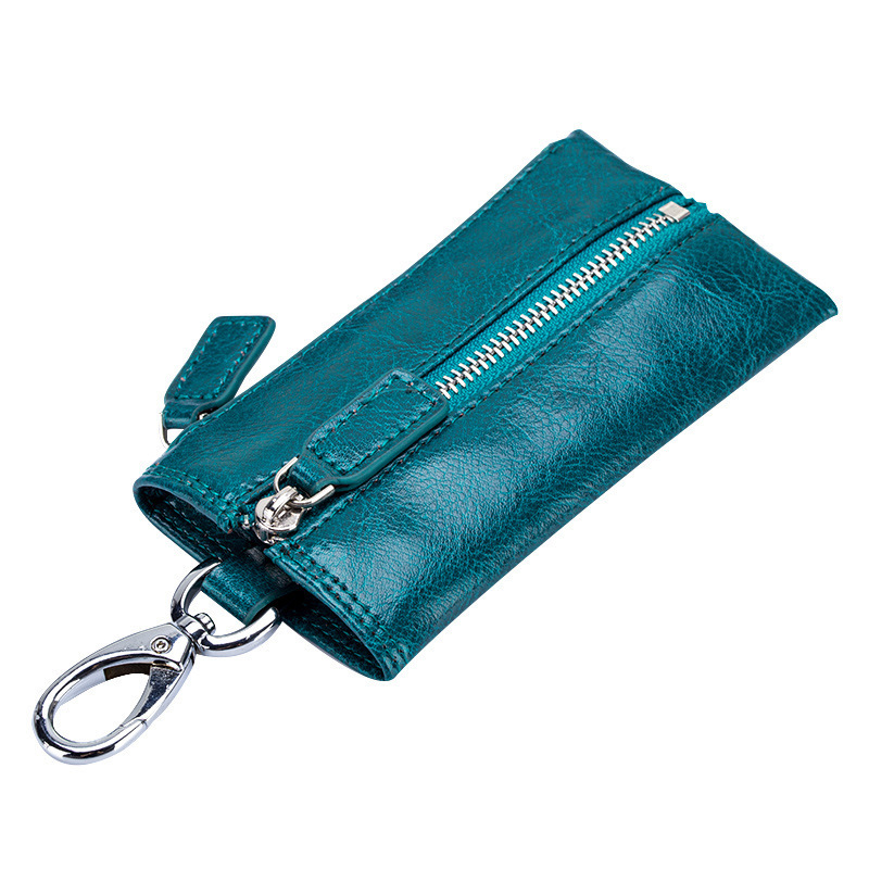 High Quality Genuine Leather Multiple Car Key Holder Small Key Wallet Multi-function Housekeeper Case Zipper Key Organizer