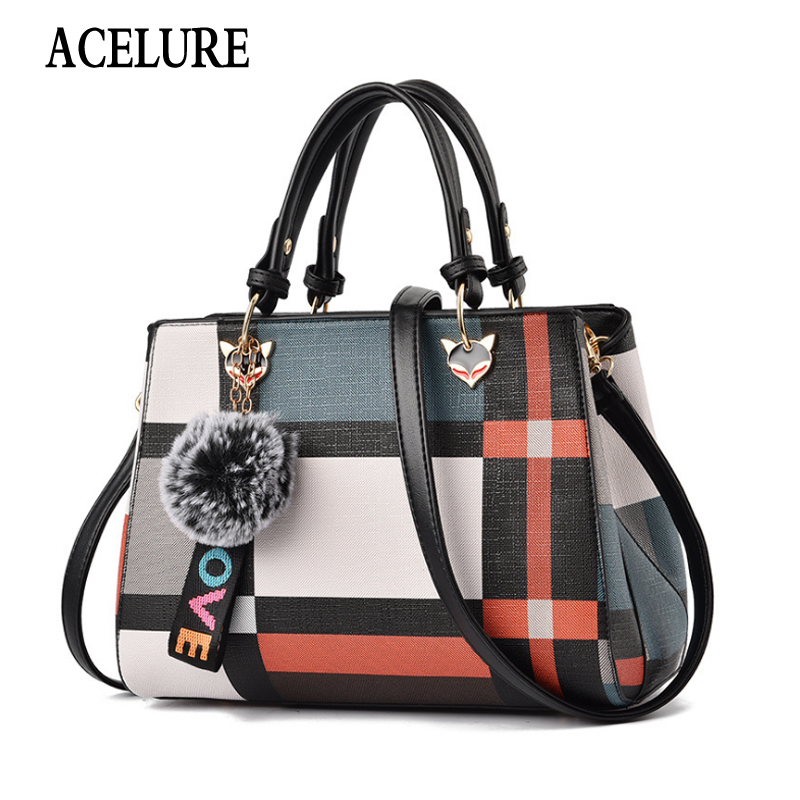 ACELURE Fashion New Style Women's Bag Stitching Leather Hairball Messenger Bag High Quality One Shoulder Diagonal Handbag Totes
