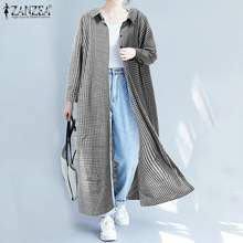 Zanzea 2019 Mode Vrouwen Plaid Lange Vest Office Lady Katoen Linnen Check Shirt Blouse Casual Knoppen Down Tuniek Tops Blusas(China)
