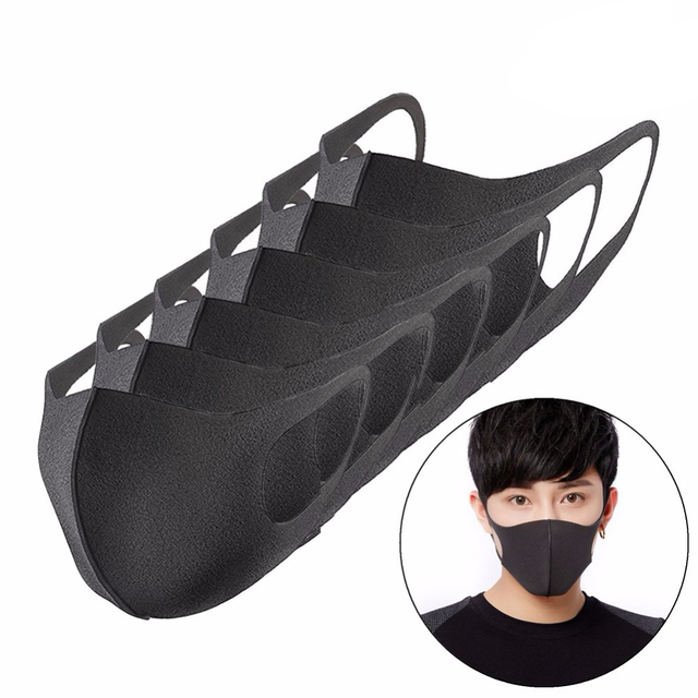 Black Fashion Anti Pollution Mask Breathable Cotton Dust-proof Mouth Mask With High Air Pollution Levels Replaceable Filter 1