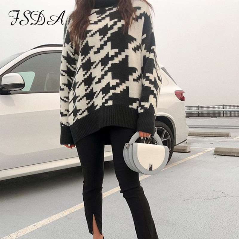 FSDA Long Sleeve Autumn Winter Oversized Sweater Dress Women Turtleneck Black Casual Knit Mini Houndstooth Sexy Party Dresses 3