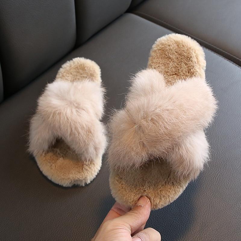 MXHY/Новинка; Сезон осень зима; Детские пушистые тапочки для девочек; Детские домашние тапочки с кроличьим мехом; Теплые хлопковые тапочки для детей|Тапочки|   | АлиЭкспресс
