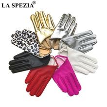 LA SPEZIA Stage Party Ladies Gloves Half A Palm Women Black Red Silver Gold Leopard Female Fashion Golve Guantes