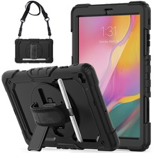 360 Rotation Hand Strap&Kickstand Silicone Tablet Case for Samsung Galaxy Tab A 10.1 Case 2019 SM T510 T515 Protective Cover