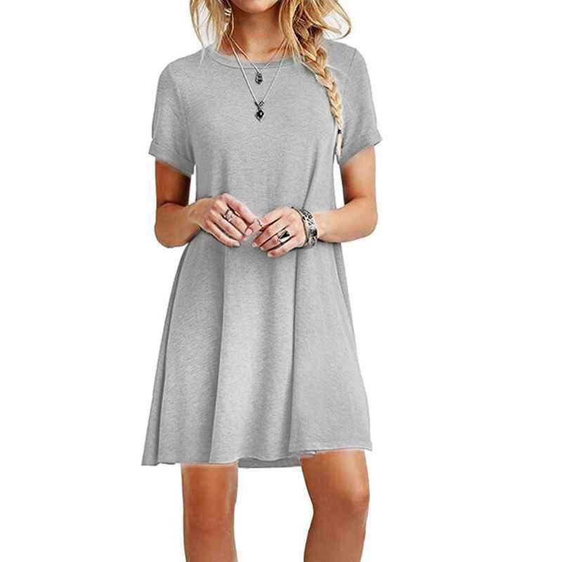 Wanita Musim Panas Ukuran Lengan Pendek Midi Ayunan Gaun T-shirt Warna Solid Polos Kru Leher Kasual Longgar Pullover Atasan Tunik